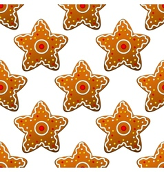 Gingerbread stars seamless pattern vector image