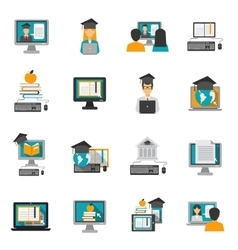 E-learning icons flat set vector
