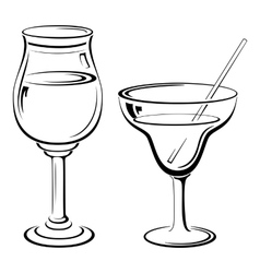 Glass with drinks pictograms vector