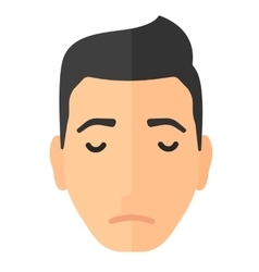 Grieving man with eyes closed vector
