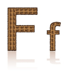 Letter f is made grains of coffee isolated on whit vector