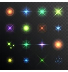 Light glare highlight lens flares set lighting vector