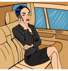 Businesswoman in car talking on the phone vector