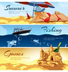 Horizontal banners with pictures of summer vector