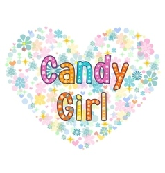 Candy girl greeting card vector