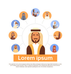 arab man having connection with muslim people chat vector image vector image