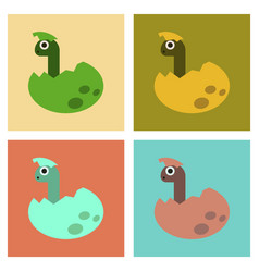 Assembly flat icons cartoon dinosaur egg vector