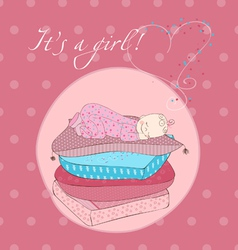 Baby girl sleeping on pillows card in pink vector