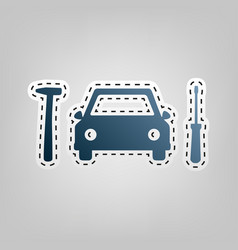 Car tire repair service sign blue icon vector