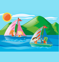 Children sailing boats in the sea vector