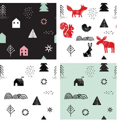 christmas winter seamless patterns set vector image vector image