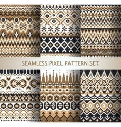 Collection of pixel colorful seamless patterns vector image
