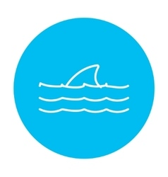 Dorsal shark fin above water line icon vector image vector image