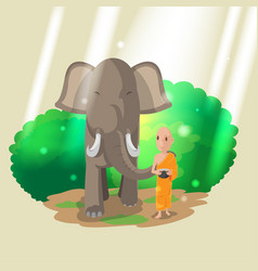 Elephant animal monk walk culture vector