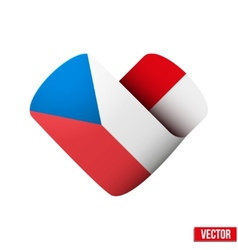 Flag icon in the form of heart I love Czech vector image vector image