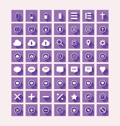 Flat Design Purple Icon Set vector image