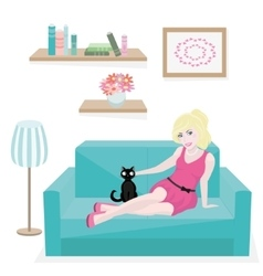 Girl and cat on couch vector