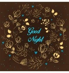 Golden floral ring good night vector