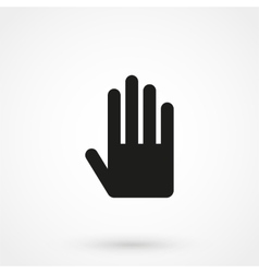 hand icon black on white background vector image vector image