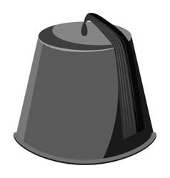 Hat fez icon gray monochrome style vector
