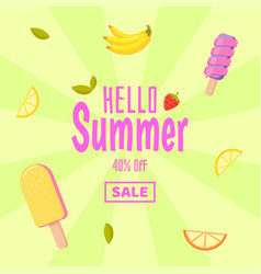 hello summer sale colorful background with ice vector image vector image