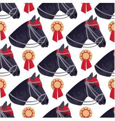 horse pony head stallion seamless pattern vector image
