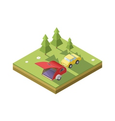 Isometric of camping trailer with car vector