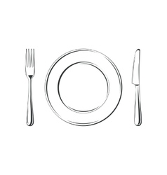 Knife fork and plate isolated on white vector image