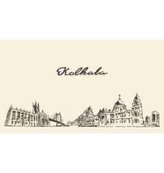 Kolkata skyline vintage drawn vector