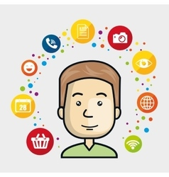 man avatar and social media design vector image vector image