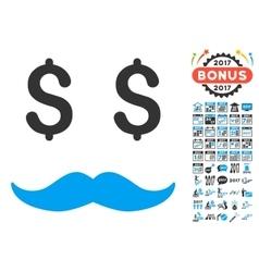 Millionaire mustache icon with 2017 year bonus vector