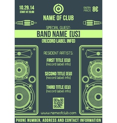 minimal design night party flyer template with big vector image