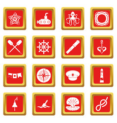 Nautical icons set red vector