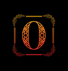 Number 0 with ornament vector