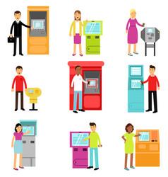 people doing atm machine money deposit or vector image