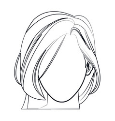 silhouette faceless woman fashion hairstyle line vector image vector image