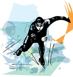 Speed ice skater at colorful ice rink vector