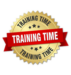 Training time 3d gold badge with red ribbon vector