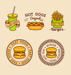 vintage fast food logos set retro eating vector image