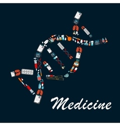 Dna helix symbol made up of medical sketch icons vector