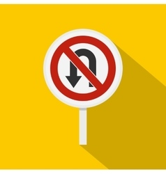 No u turn traffic sign icon flat style vector