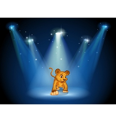 A tiger at the stage with spotlights vector