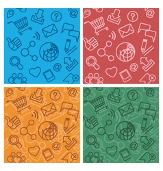 Internet community multicolor patterns vector