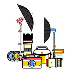 Photographer kit camera elements vector