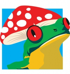Frog and mushroom vector