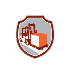 Forklift Truck Box Shield Retro vector image