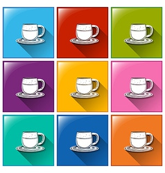 Buttons with cups and saucers vector