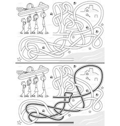 Happy family maze vector image