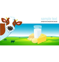 Horizontal design with cow dairy product and vector