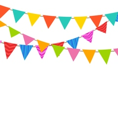Set bunting pennants with ornamental texture vector